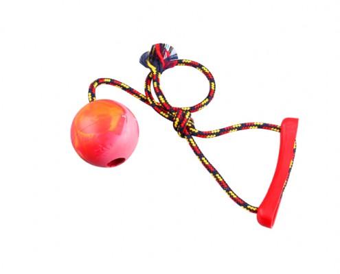 Ball with rope - 6cm diameter - scented rubber pet toy - dog - Essenti Enterprises, LLC - importer, exporter, supplier, distributor of pet products