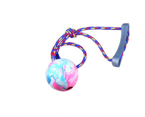 Ball with rope - 7cm diameter - scented rubber pet toy - dog - Essenti Enterprises, LLC - importer, exporter, supplier, distributor of pet products