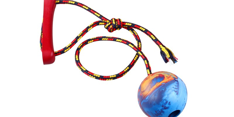 Ball with rope - 8cm diameter - scented rubber pet toy - dog - Essenti Enterprises, LLC - importer, exporter, supplier, distributor of pet products