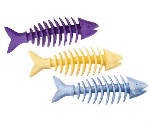 Dent-a-Chew Fishbone - 16cm - small scented solid rubber pet toy - dog - Essenti Enterprises, LLC - importer, exporter, supplier, distributor of pet products old