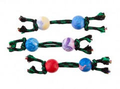 Dumbbell with rope - 3.5cm ball diameter - scented rubber pet toy - dog - Essenti Enterprises, LLC - importer, exporter, supplier, distributor of pet products