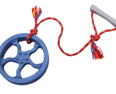 Rim tug with rope - large, blue - scented solid rubber pet toy - dog - Essenti Enterprises, LLC - importer, exporter, supplier, distributor of pet products