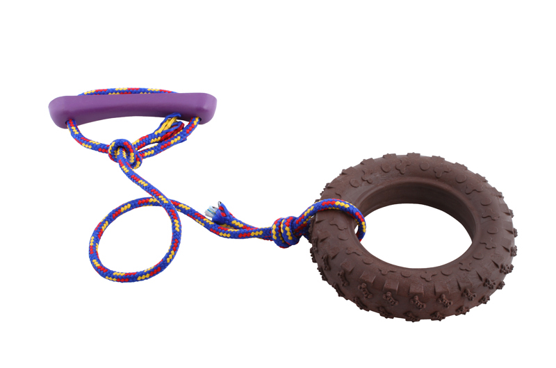 Tire with rope - large - scented solid rubber pet toy - dog (1) - Essenti Enterprises, LLC - importer, exporter, supplier, distributor of pet products