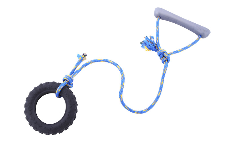 Tire with rope - small - scented solid rubber pet toy - dog (1) - Essenti Enterprises, LLC - importer, exporter, supplier, distributor of pet products