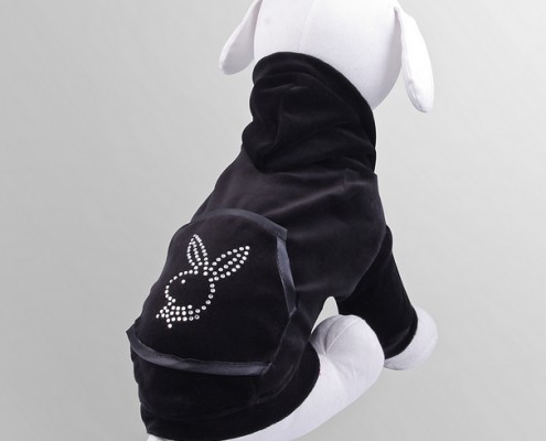 Velour sweatshirt with crystals - Bunny - Black - dog clothing, dog apparel, dog clothes - Essenti Enterprises, LLC - importer, exporter, supplier, distributor of pet products