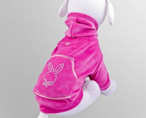 Velour sweatshirt with crystals - Bunny - Pink - dog clothing, dog apparel, dog clothes - Essenti Enterprises, LLC - importer, exporter, supplier, distributor of pet products