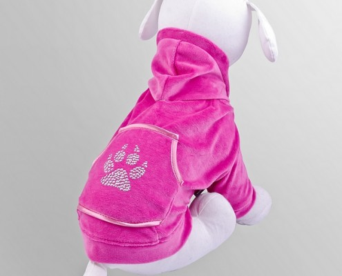 Velour sweatshirt with crystals - Paw Print - Pink - dog clothing, dog apparel, dog clothes - Essenti Enterprises, LLC - importer, exporter, supplier, distributor of pet products