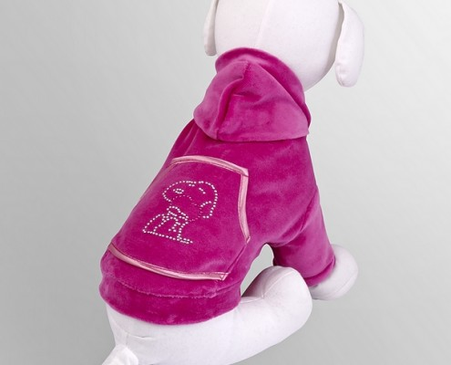Velour sweatshirt with crystals - Snoopy - Pink - dog clothing, dog apparel, dog clothes - Essenti Enterprises, LLC - importer, exporter, supplier, distributor of pet products