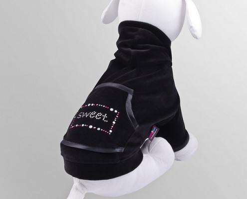Velour sweatshirt with crystals - Sweet - Black - dog clothing, dog apparel, dog clothes - Essenti Enterprises, LLC - importer, exporter, supplier, distributor of pet products