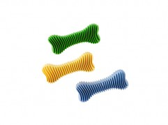 Dent-a-Chew ribbed bone - 12cm - scented solid rubber pet toy - dog - Essenti Enterprises, LLC - wholesaler, importer, exporter, supplier, distributor of pet products