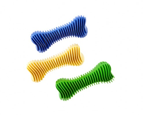 Dent-a-Chew ribbed bone - 14cm - scented solid rubber pet toy - dog - Essenti Enterprises, LLC - wholesaler, importer, exporter, supplier, distributor of pet products
